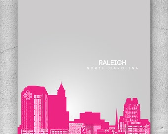Raleigh North Carolina Skyline Pop Art Poster / Housewarming Gift / Office Decor Wall Art / Choose your colors: Any City Available