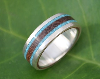 Size 6 READY TO SHIP Lados Turquoise and Nacascolo Wood Ring - ecofriendly wedding band