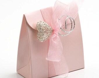 10 Pink Satin Satchel Favour Boxes