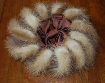 Vintage Mink and Satin Bow Pillbox Hat - 1960's - High Fashion - Glam