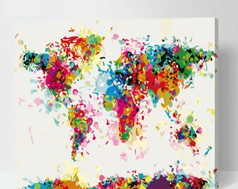 Abstract world map etsy abstract world map painting paint by number world map colorful world map painting on gumiabroncs Image collections