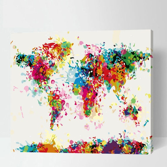 Abstract world map painting paint by number world map colorful abstract world map painting paint by number world map colorful world map painting on canvas map painting wereldkaart carte du monde from gumiabroncs Image collections