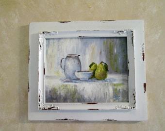 Original painting 8x10 canvas board Still Life Pears