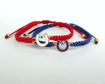 Couples gift, Horseshoe charm, Lucky bracelet, Good luck bracelet, Evil eye bracelet, Charm bracelet, Protection amulet, Horseshoe bracelet