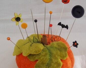 Halloween pumpkin pincushion