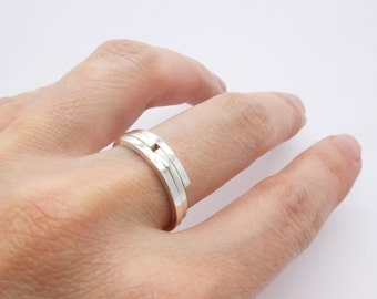 Set of two simple silver stacking rings, silver dainty rings, elegant silver stack rings, present for her