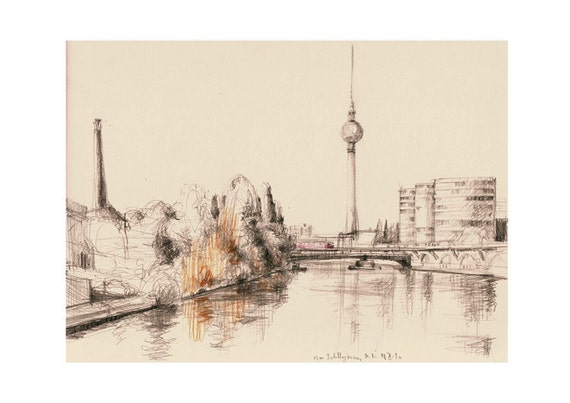Berlin urban sketch pencil drawing print berlin print