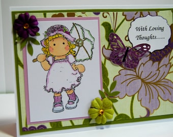 With Loving Thoughts ; Little Girl with Parasol - Handmade Greeting Card - Card in Green and Purple with Paper Flowers and Butterfly