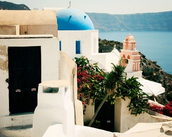 Santorini Greece Photography - Oia Photo Greek Islands Print Blue Dome Churches Travel Photograph Mediterranean Home Decor Wall Art