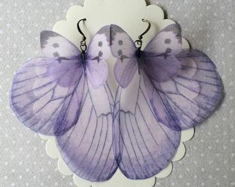 Fait à la main lavande papillon ailes boucles d'oreilles, boucles d'oreilles uniques, boucles d'oreilles papillon, Organza de soie boucles d'oreilles