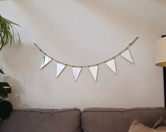 Mirror Bunting Garland - Triangle Party Flags - Stained Glass Soldered Geometric Decor - Minimalist Decor - Gift for Her - Gift for Him