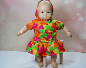 14 inch baby doll clothes, 15 inch doll dress, Bitty Baby Doll Dress, , 15 inch doll outfit,  doll play clothes, baby doll dress, 12-2662