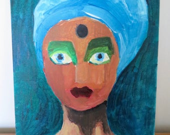 Acrylic painting, 'Witch', face, woman, mask, home decor, wall decor, wall art, original painting, acrylic on cardboard