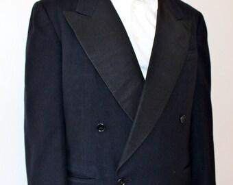 40s 50s Mens Tuxedo Jacket Tux Blazer Wool Satin Dinner Evening M 40R 40S Dark Navy Blue Black Wedding Mad Men Frank Sinatra Cary Grant