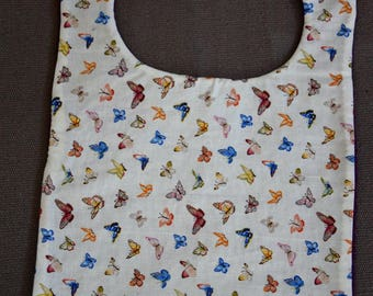 Bib made of cotton fabric and sponge multicolored butterflies - handmade