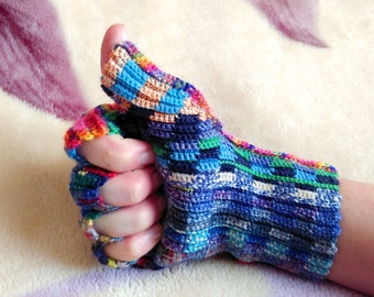 Fingerless Crochet Gloves Multicolor Rainbow Shaded