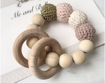 Baby Teething ring, baby rattle, baby accessories, Teething toy, Wood Teething ring, stroller toy, wooden toy, baby gift, Teething baby