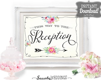 Reception Printable Poster - INSTANT DOWNLOAD - Wedding Sign , Wedding Decoration, Welcome Sign, Welcome Poster, Reception, Arrow Sign