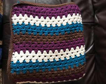 Handmade crochet blanket granny stripe- purple, brown, cream, turquoise