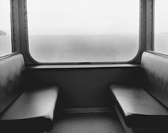 """Black and White Photograph -  """" Silence"""" 8x8 original signed image of an empty ferry"""