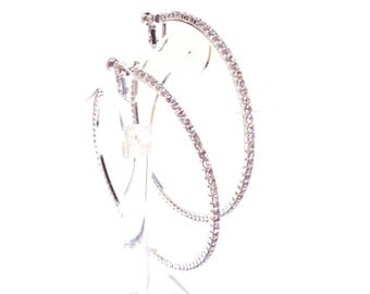 CLIP-ON Earrings Thin Crystal Hoop Earrings Silver tone Large 4 inch Hoop Earrings