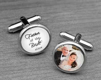 Father of the Bride Cufflinks, Custom image / photo, Silver plated mens wedding cufflinks, matching Tie Tacks, Daddy ,Wedding accessories