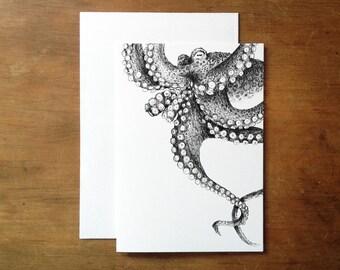 Octopus greeting card. Cephalopod. Octopus illustration. Nautical. Vintage octopus. Sea creature.