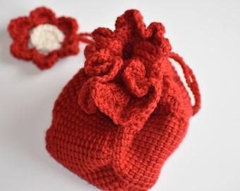 100% Wool Handbag -- Red