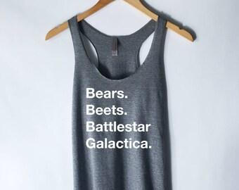 The Office - Bears. Beets. Battlestar Galactica. Tank Top - The Office Tank Top - Dwight Schrute Michael Scott Tank Top - Jim Halpert