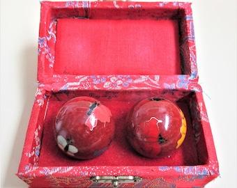 Red Chinese Shouxing Stress Balls Asian Cloisonne Therapeutic Baoding Balls Vintage Musical Meditative Stress Chiming Bells Original Box