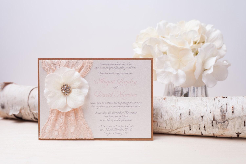 10% OFF GEORGIA: Blush Lace Wedding Invitation Shabby Chic