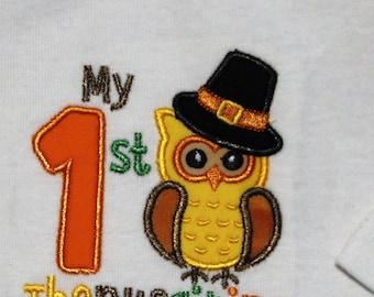 Boy 1st Thanksgiving bodysuit, Boys first Thanksgiving shirt,My 1st Thanksgiving shirt for boys,Owl,Fall,baby shower gift,baby boy gift