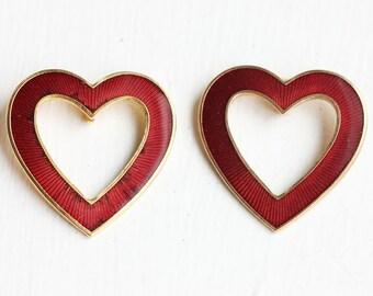 Enamel Heart Pendants, Red Heart Charms, Heart Charms (2x)