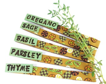 Herb Markers Set of Five Garden Stakes Handstamped Handmade Polymer Clay Waterproof Sunproof Garden Decoration Floral Patterns