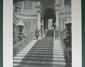 Antique Victorian Print of Buckingham Palace Staircase British Royal Family interior decor, opulent design - Historical Opulence - Decadent