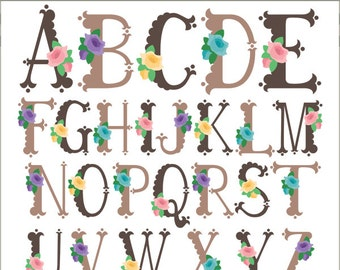 Flower Scallop Alphabet Clipart -Personal and Limited Commercial Use- scalloped letters Clipart