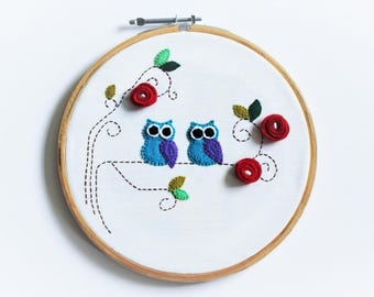Embroidery Hoop Art - Owls