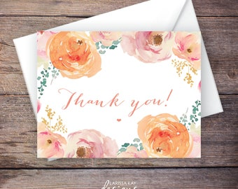 Printable Thank You Card, Flowers, Floral, Peach, Instant Download Greeting Card, Wedding Card Instant Download – Madison