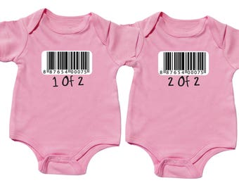 Twin Girl Baby Gifts, Barcode, 1 of 2, 2 of 2, Pink Bodysuit, Twin Girls, sizes from 0 to 12 months, Twin Baby Gifts