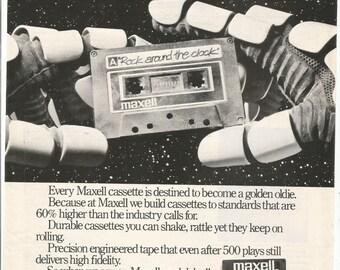 1983 Advertisement Maxell 8x11 Hands Mixed Mix Tape Rock Astronaut Roll Recording Music Sound Audio Studio Famous Classic Wall Art Decor