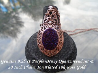 Purple Drusy Quartz Pendant on A 20 Inch Chain Rose Gold Overlay