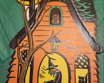 Witch, Haunted House, Die cut, orange, black cat, full moon, owl, bat, Decoration, Made In The USA. Beistle. Halloween, 1960s, Biestle