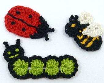 Crochet insects, Crochet applique, 3 applique insects, cardmaking, scrapbooking, appliques, handmade, sew on patches. embellishments