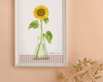 Sunflower print illustration, Sunflower watercolor illustration art, Sunflower poster, Frammable art, Kitchen decoration, Gift for gardener