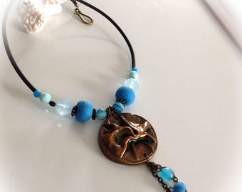 Polymer clay, turquoise necklace, bronze.