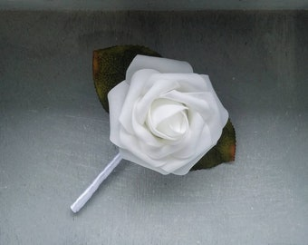 White rose and white ribbon Boutonnieres, Wedding Boutonniere, Elegant boutonniere, white boutonniere, white rose boutonniere, B019