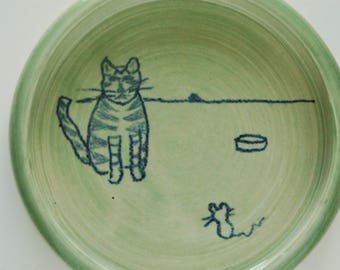"""cat dish,""""Uh Oh"""", hand thrown porcelain, green glaze with drawing, small size"""