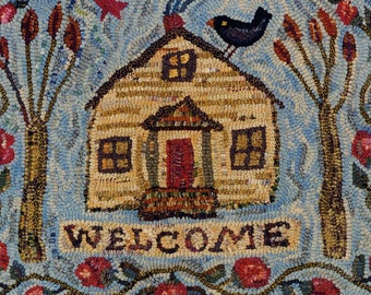A Welcome Rug rug hooking pattern on linen//house//trees//bird//floral