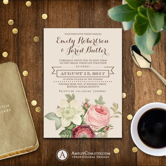 Cheap Shabby Chic Wedding Invitations: Printable Wedding Invitation Romantic Flowers Vintage Shabby