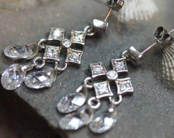 Old Vintage Sterling Silver Chandelier Dangle Crystal Earrings